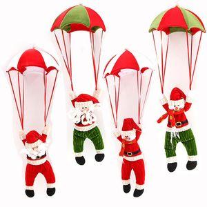 New Christmas Tree Hanging Ornament Parachute Snowman Plush Toys Santa Claus Stuffed Doll Pendant Decoration Xmas Party Gift DBC VT1157