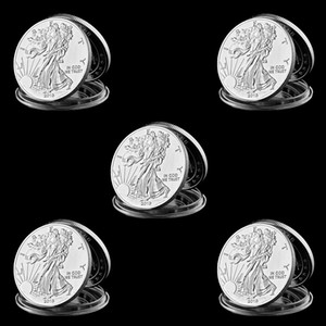 5pcs 2013 American Statue Of Liberty Eagle Coin Silver Plated Commemorative Coin 40mm X 3mm Collection New Gift Home Decoration