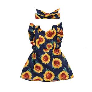 Black Friday 2020 New Sommer babys Kleid-Kind-Kind-Baby-Fly Sleeve Sunflower Printed Prinzessin Dress + Stirnband-Set Z0207