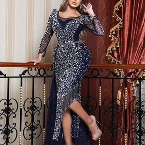 2019 New Elegant Long Sleeves sequined A-line Wedding Dresses Crew Neck Lace Appliques Beaded Bridal Gowns