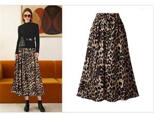 Color Skirts Female Mid Calf Clothing Womens Designer Leopard Print Skirts High Waist Sexy Ladies Plus Size Contrast