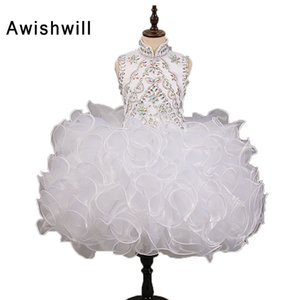 Real Photos White Flower Girl Dresses for Wedding Party Sleeveless Beaded Organza Open Back First Communion Dresses For Girls