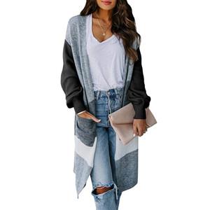 Mulheres Irregular de correspondência de cores da camisola luva Lantern bolso Cardigan Sweater Manga comprida Coats
