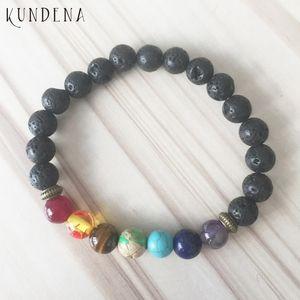 Unisex 7 Chakra Bracelet with Volcanic Lava Frosted Agates Wrists Lion Buddha Charm 7 chakra bracelet For Men and Women
