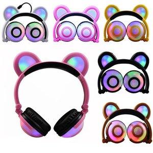 Foldable Headband Headphones Cute Cat Ear Earphones Rechargeable Flash Led Light Stereo Bear Ears Cosplay Gaming Headset For Pc Phone