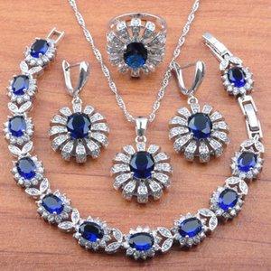 Russian style Silver Color Jewelry Set Cubic Zirconia Bridal jewelry For Women Earrings Necklace Pendant Rings Bracelet JS89
