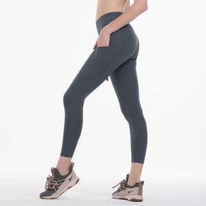 2020 pantalons de yoga solide Couleur femmes avec poches taille haute Sport Gym Fitness Porter Leggings élastique Lady ensemble Collants pantalons neuvième