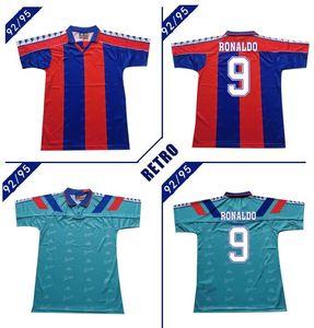 BAR # 9 Ronaldo 1992 1995 HOME AWAY Retro Fußball Jersey klassische Vintage Stoichkov Guardiola Fußballhemd 92 95 Figo Giovanni futbol