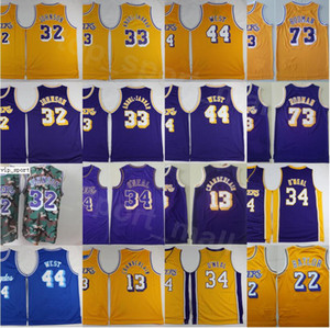 Erkekler Vintage Basketbol Shaquille Oneal Formalar 34 Wilt Chamberlain 13 Dennis Rodman Jerry West Artest layık Kareem Abdul-Jabbar Johnson