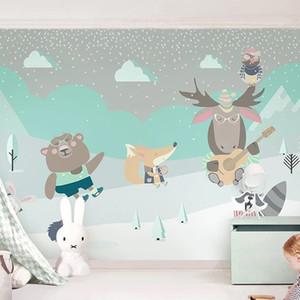 Custom 3D Photo Wallpaper Cute Cartoon Goat Bear Cloud Children Room Background Mural Papel De Parede For Kids Room