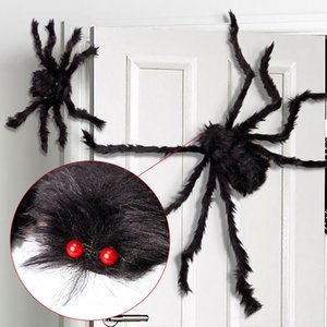 1Pc 30 50 75cm Black Big Halloween Plush Spiders Kids Children Toy Plush Black Multicolour Style For Party Halloween Decoration