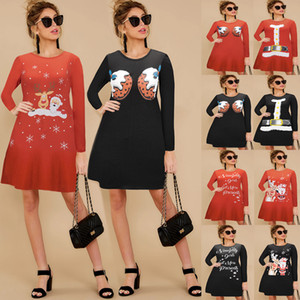 Christmas Floral Printed Dress 2020 European and American Foreign Trade Womens New Long-Sleeved Christmas Tree Pullover Dress