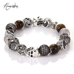 Thomas Style KM Bead Bracelet With Eagle Tiger's Eye OWL Maori Skull Beads, Karma Bracelet Rebel Heart Jewelry For Men TS KB539 Y200810