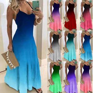 패션 그라데이션 맥시 DREES 2020 여성 여름 섹시한 민소매 V 넥 등이없는 파티 드레스 캐주얼 대형 컬러 A 라인 롱 드레스