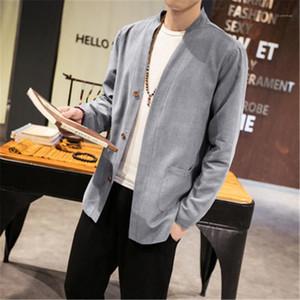 Fashion Cardigan mince manches longues en vrac shirt Vêtements Designer Homme style chinois T-shirt Hauts Manteau Homme Taille Plus Casual Chemise d'été