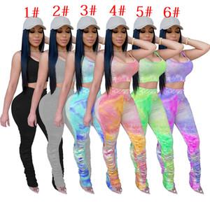 Frauen Anzug 2-teiliges Set Tie Dye Short Club Fashion Weste gefaltete lange Hosen Jogging-Anzug T-Shirt Enge Hose Outfits Ck589