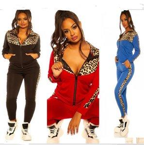 Kadınlar Eşofman Tasarımcılar Leopar Uzun Kollu Triko Fermuarlı Ceket Kaban Pantolon Tayt Patchwork Renk Casual Suit Spor E82604