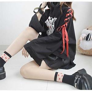 NiceMix Japanese Lolita Vintage Harajuku Anime Fox Print Lace-up Long Sleeve Hoodie Shirts Dark Girl Punk Street Sweatshirt Tops Y200915