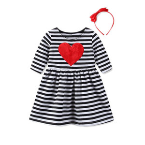 Excelent Clearance New summer babys Dress Toddler Kids Baby Girls Heart striped Princess Dress Sundress Outfits Clothes Z0207