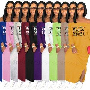 Дизайнер Женщины Длинные платья макси черный смарт письмо Печать длинное платье Разрез шеи Shoulderless партии Sexy Split юбка платье 8605
