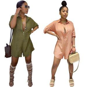 Chic Стиль Женщины рубашка Комбинезоны Faahion Твердых Длинные рукава Кнопка Повседневный Девушка Lady Короткого Rompers Streetwear 2020 игровой одежда