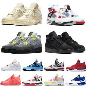 Nike Air Jordan Retro 4 Les plus récents Top qualité Mode Jumpman 4 4s Deep Ocean Femmes Hommes Basketball Chaussures Baskets sport Chaussures de sport Air Big Taille Eur 47