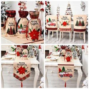 Vino de la Navidad Botella cubierta de lino Botella Silla Mesa de la cubierta del paño Feliz Navidad decoración de la tabla de Navidad Cocina Casa y jardín IIA419