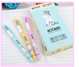 Wholesale- Borreable Gel Pens Moomin color azul coloreado kawaii gel-tinta plumas para escribir artículos de escritorio lindos suministros escolares de oficina 0.38mm