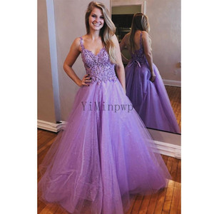 Lavender Prom Dresses Long Spaghetti Backless A Line Appliques Beads Sequin Formal Women Evening Gowns for Special Occasions Plus Size