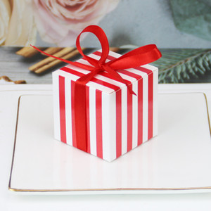 (50 Pieces Lot) Simple Pattern Wedding Decoration Square box of stripe gift box for Any Party favor box for guests