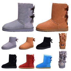 boots Frauen Stiefel Short Mini Classic Kniehohe Winter Schneeschuhe Designer Bailey Bow Ankle Bowtie Schwarz Grau Kastanienrot Größe 5-10