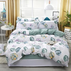 Blue Banana Leaf Pattern Literie Lit Linings Housse de couette drap de lit Taies Cover Set Pour 1 .2 / 1 0,5 / 1 0,8 / 2/2 .2m