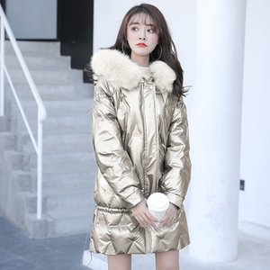 2020 Giacca Nuova Autunno Inverno manica lunga solido luminoso Colori isolato Puffy Coat collare Parka con cappuccio allentato Outwear C252
