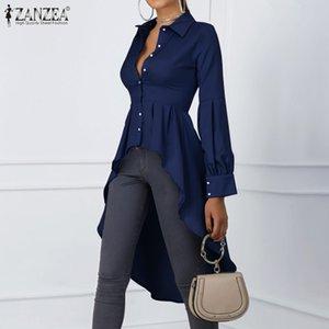 Fashion Asymmetrical Tops Women's Spring Blouse ZANZEA Casual Lantern Sleeve Shirts Female Button Lapel Blusas Plus Size 200923