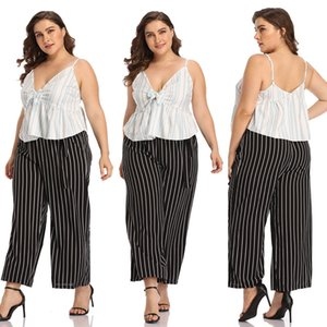 Summer cropped top women's jacket sexy deep V sling striped T-shirt vest short top plus size women's clothing womens camisole