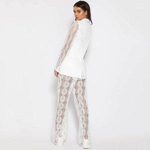 Естественный цвет костюмы Sexy Глубокий V-образным вырезом Короткие костюмы Топ Широкий ноги брюки женщин конструктора кружева вышивки Сбросить грациозных