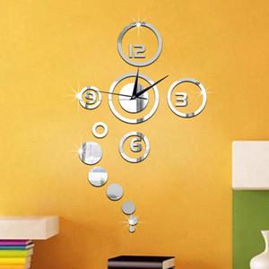Fashion Circles 3D Modern Mirror Wall Clock Watches Sticker Decal Home DIY Decor