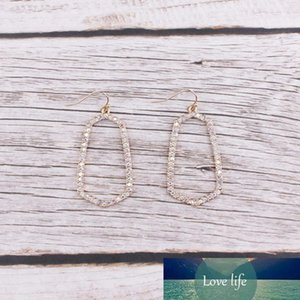 Pave Colorful Crystals Geometry Frame Dangle Drop Earrings for Women Pave Stones Bolder Alloy Women Trendy Dangle Drop Earrings