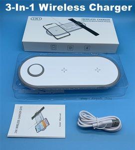 DHL 10pcs / lot QI senza fili universale del caricatore Pad 3-in-1 10w Fast Charge per il telefono di Apple serie di orologi senza fili di auricolari Bluetooth