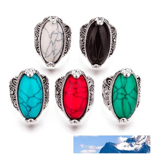 MIXED model MIX color 3 color retro turquoise stone ring blue red black green 17 18 19 20 four size antique silver plated Gemstone ring fo