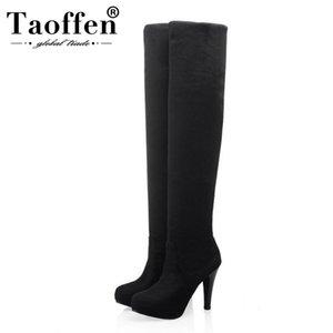 Taoffen Bottes Noir Cuissardes Bottes femmes Glissement mince de talons hauts d'hiver chaud Simple Femmes Chaussures Taille 34-43