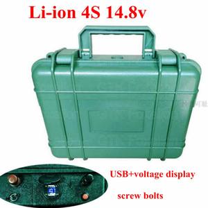Armee-Grün-Fall 14.8V 40Ah 50Ah 60Ah 70Ah 15V 4S Li-Ion-Lithium-Batterie für Outdoor Power Elektromotor Wasserdicht + 6A Charger