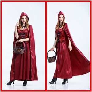 UV2Ab Новый маскарад партия Wansheng праздник костюм принцессы платье одежда Hood езда одежды Little Red Hat взрослых Little Red Riding Hoo