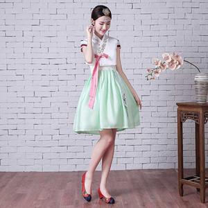 Traje de la danza de la mujer elegante Corea hanbok tradicional vestido femenino Nacional de Corea del bordado hanbok para el Desempeño