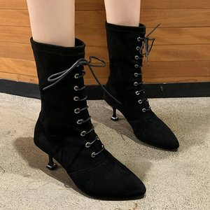 Nice Mid Calf Boots Women Autumn Pointed Toes Pretty Dress Shoes Woman Thin High Heels Sexy Lady All Black Wild Pumps