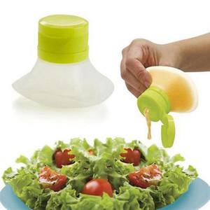 Protable bouteille salade silicone bouteilles d'huile douce sécurité pique-nique Camping Mini salade Bouteille bidons d'huile de cuisine Outils Accueil HHA1521