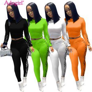 BJYL 2020 осень новых женщин Два Piece Set моды Печать с длинным рукавом Crop Top рубашках поножи Брюки Костюм женский спортивный костюм