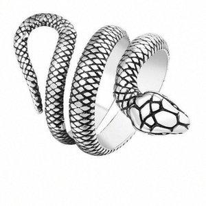 Высокое качество Mens серебра год сбора винограда из нержавеющей стали змейки ювелирных изделий Шарм Punk Регулируемые кольца Алмазный браслет Аквамарин кольцо NV2y #