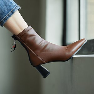 Back Zipper Autumn And Winter Shoes 2021 Newest Genuine Leather High Heels Boots woman Fashion Party Working Pumps