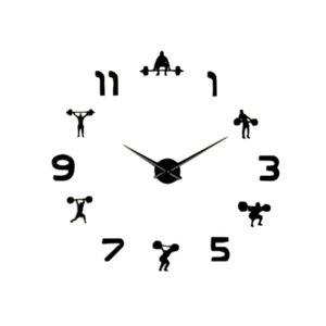 Halterofilismo Sala de ginástica Wall Decor Diy gigante Relógio de parede Espelho Efeito Powerlifting Frameless Grande relógio relógio